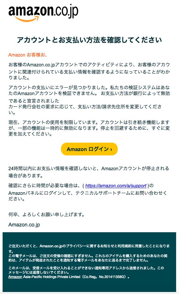 Amazonなりすましメール